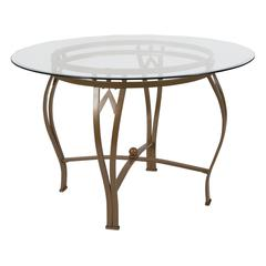 45'' Round Glass Dining Table with Bowed Out Matte Gold Metal Frame