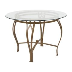 42'' Round Glass Dining Table with Bowed Out Matte Gold Metal Frame