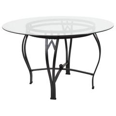 48'' Round Glass Dining Table with Bowed Out Black Metal Frame