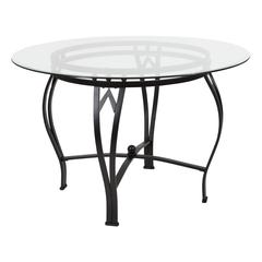45'' Round Glass Dining Table with Bowed Out Black Metal Frame