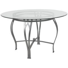 48'' Round Glass Dining Table with Bowed Out Silver Metal Frame