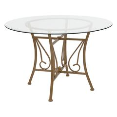 45'' Round Glass Dining Table with Curl Accent Matte Gold Metal Frame