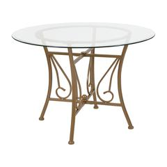 42'' Round Glass Dining Table with Curl Accent Matte Gold Metal Frame