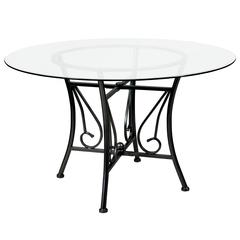 48'' Round Glass Dining Table with Curl Accent Black Metal Frame