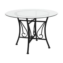 42'' Round Glass Dining Table with Curl Accent Black Metal Frame