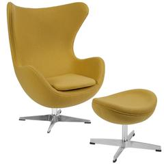 Citron Wool Fabric Swivel Egg Chair with Tilt-Lock Mechanism and Ottoman