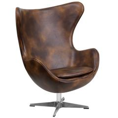 Bomber Jacket Leather Swivel Egg Chair with Tilt-Lock Mechanism