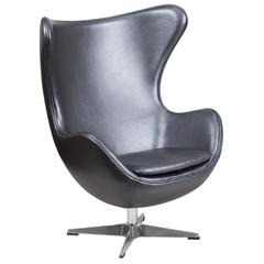 Gray Leather Swivel Egg Chair with Tilt-Lock Mechanism