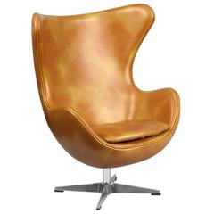 Gold Leather Swivel Egg Chair with Tilt-Lock Mechanism