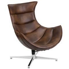 Bomber Jacket Leather Swivel Cocoon Chair