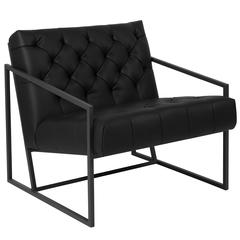 Black Leather Tufted Lounge Chair