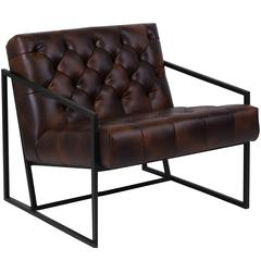 Bomber Jacket Leather Tufted Lounge Chair