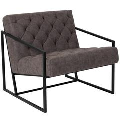Retro Gray Leather Tufted Lounge Chair