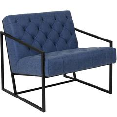 Retro Blue Leather Tufted Lounge Chair