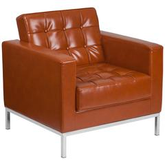 Contemporary Button Tufted Cognac Leather Chair with Integrated Stainless Steel Frame