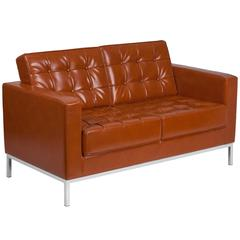 Contemporary Button Tufted Cognac Leather Loveseat with Integrated Stainless Steel Frame