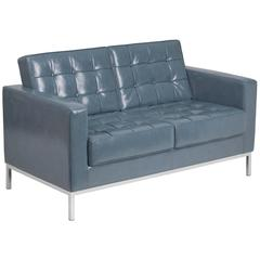 Contemporary Button Tufted Gray Leather Loveseat with Integrated Stainless Steel Frame