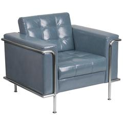 Contemporary Gray Leather Double Stitch Detail Chair with Encasing Frame