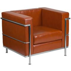 Contemporary Cognac Leather Chair with Double Bar Encasing Frame