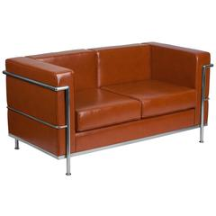 Contemporary Cognac Leather Loveseat with Double Bar Encasing Frame