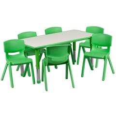 """23.625""""Wx47.25""""L Rectangular Green Plastic Height Adjustable Table Set-6 Chairs"""