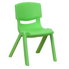 Green Plastic Stackable School Chair with 12'' Seat Height