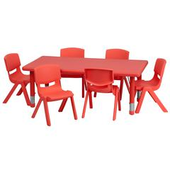 24''W x 48''L Rectangular Red Plastic Height Adjustable Activity Table Set with 6 Chairs