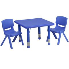 24'' Square Blue Plastic Height Adjustable Activity Table Set with 2 Chairs