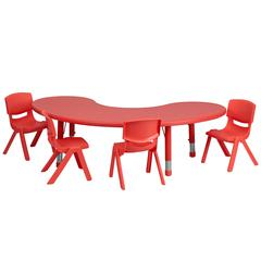 35''Wx65''L Half-Moon Red Plastic Height Adjustable Table Set with 4 Chairs