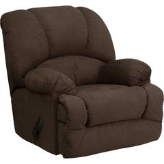Contemporary Glacier Brown Microfiber Chaise Rocker Recliner