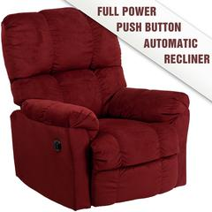 Flash Furniture Contemporary Top Hat Berry Microfiber Power Recliner with Push Button