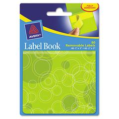 Avery Removable Label Pad Books, 1 x 3 Yellow & 2 x 3 Green, Green Circles, 80/Pack
