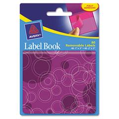 Avery Removable Label Pad Books, 1 x 3 Magenta & 2 x 3 Purple, Purple Circles, 80/Pack