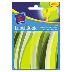 Avery Removable Label Pad Books, 1 x 3 Yellow & 2 x 3 Green, Green Wavy, 80/Pack