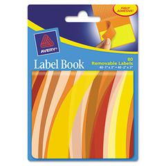 Avery Removable Label Pad Books, 1 x 3 Yellow & 2 x 3 Orange, Orange Wavy, 80/Pack