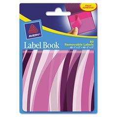 Avery Removable Label Pad Books, 1 x 3 Purple & 2 x 3 Magenta, Purple Wavy, 80/Pack