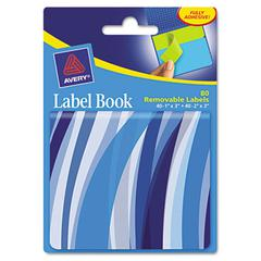 Avery Removable Label Pad Books, 1 x 3 Blue & 2 x 3 Green, Blue Wavy, 80/Pack