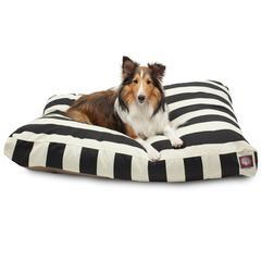 Majestic Black Vertical Stripe Medium Rectangle Pet Bed