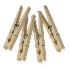Wood Clothespins With Spring - 200-Pack, Natural Wood