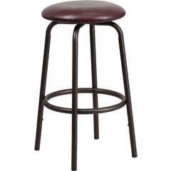 Flash Furniture Backless Brown Metal DUAL Height Counter or Bar Stool with Brown Leather Seat