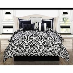 Concord Medallion 7pc Queen Comforter Set, Black/White