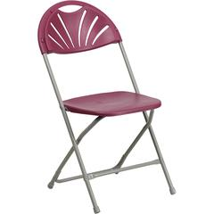 Flash Furniture HERCULES Series 440 lb. Capacity Burgundy Plastic Fan Back Folding Chair