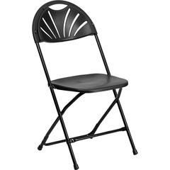 HERCULES Series 440 lb. Capacity Black Plastic Fan Back Folding Chair