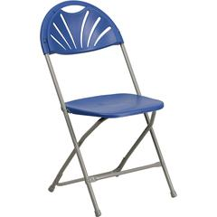HERCULES Series 440 lb. Capacity Blue Plastic Fan Back Folding Chair