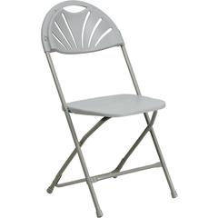 HERCULES Series 440 lb. Capacity Gray Plastic Fan Back Folding Chair