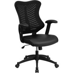 High Back Black Designer Mesh Executive Swivel Office Chair with Leather Padded Seat