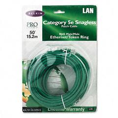 CAT5e Snagless Patch Cable, RJ45 Connectors, 50 ft., Green