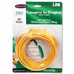 Belkin CAT5e Snagless Patch Cable, RJ45 Connectors, 50 ft., Yellow
