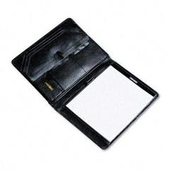 Pad Holder/Organizer Portfolio, Leather, Gusset File Storage/Pockets/Slots, BLK