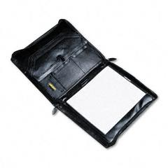 Organizer Portfolio Pad Holder, Leather, Zipper, Gusset Files/Pockets/Slots, BLK